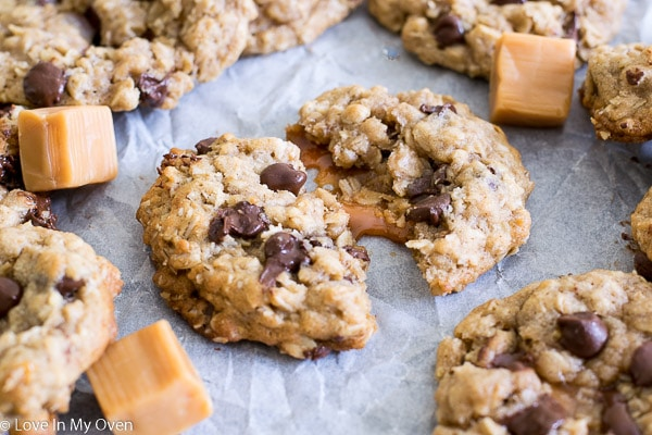 Caramel-Stuffed Oatmeal Chocolate Chip Cookie