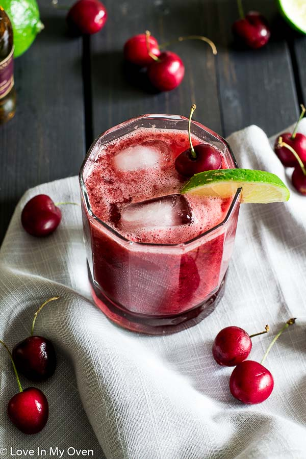 cherry lime whiskey sour