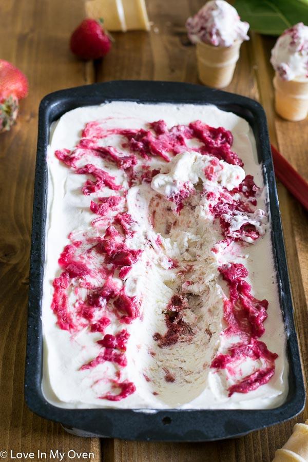 Roasted Strawberry Rhubarb No Churn Ice Cream