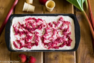 Roasted Strawberry-Rhubarb No Churn Ice Cream