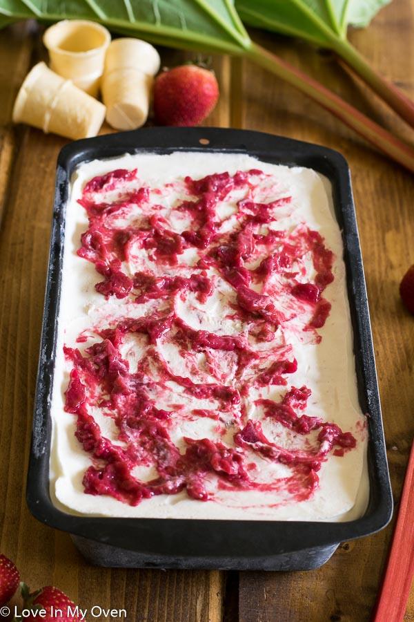 Roasted Strawberry-Rhubarb No Churn Ice Cream
