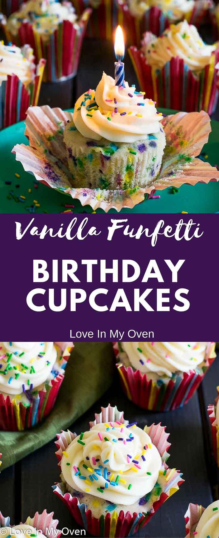 Vanilla Birthday Cupcakes