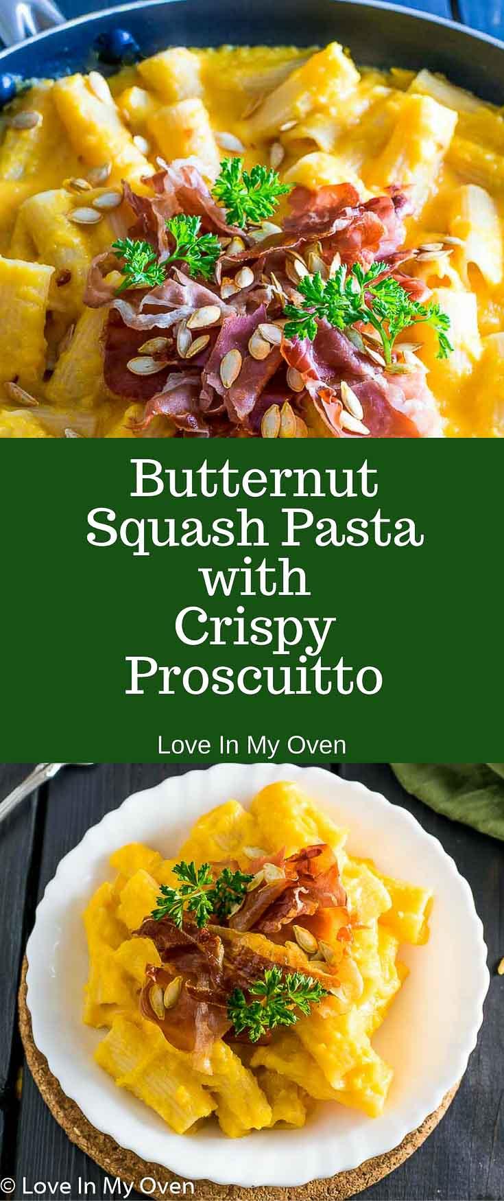 Easy Butternut Squash Pasta with Crispy Prosciutto