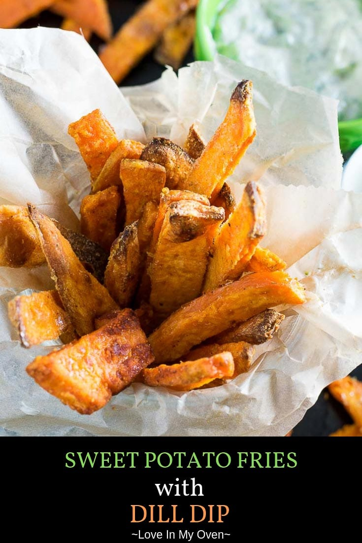 The BEST dill dip recipe is the perfect pairing to these extra crispy sweet potato fries. One of my favorite recipes, these sweet potato fries with dill dip will be a new go-to side for your family dinners! // sweet potato fries dill dip // best dill dip recipe // dips for sweet potato fries