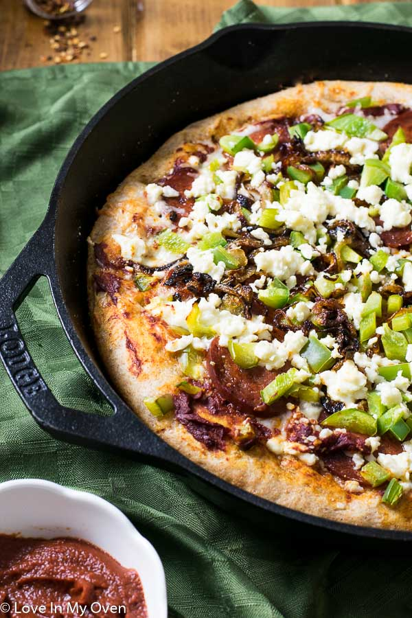 Chorizo and Caramelized Onion Skillet Pizza