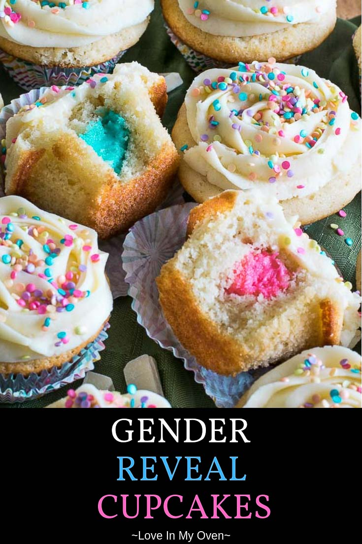 Reveal the secret gender of your new baby to friends and family by letting them bite into fluffy white chocolate gender reveal cupcakes to discover coloured surprise inside! These gender reveal party cakes are just as tasty as they are fun. // gender reveal cupcakes // gender party cakes // gender reveal cupcakes ideas // baby shower cupcakes
