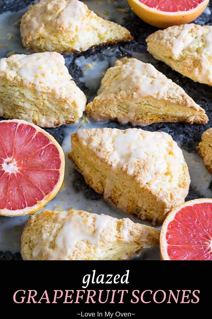 Take advantage of grapefruit season with these sweet, flaky glazed grapefruit scones! Looking for other uses for grapefruit? These citrus scones are it! // grapefruit glaze // grapefruit recipes // unique scone recipes