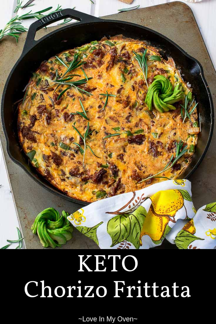 Whether you\'re in need of a keto breakfast or not, this keto chorizo frittata checks all of the boxes! This cheesy low carb frittata uses spicy chorizo and tons of veggies to jump start your day! //keto chorizo frittata //keto breakfast //low carb frittata //chorizo frittata