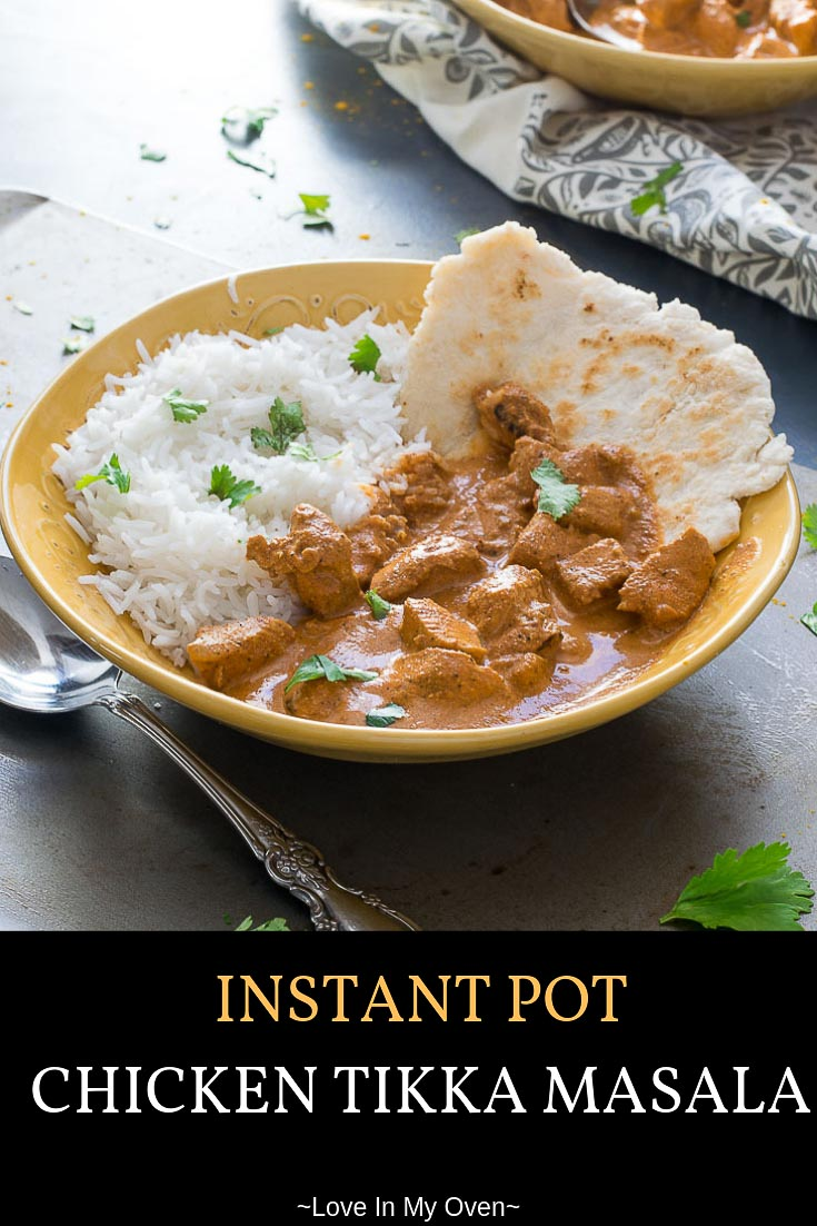 The quickest way to a silky smooth, satisfying bowl of chicken tikka masala! Use your Instant Pot to create a warm, fragrant sauce with chunks of tender chicken smothering a bed of fluffy white rice. #instantpotrecipes #instantpot #instantpotdinner #chickentikkamasala #chickenrecipes