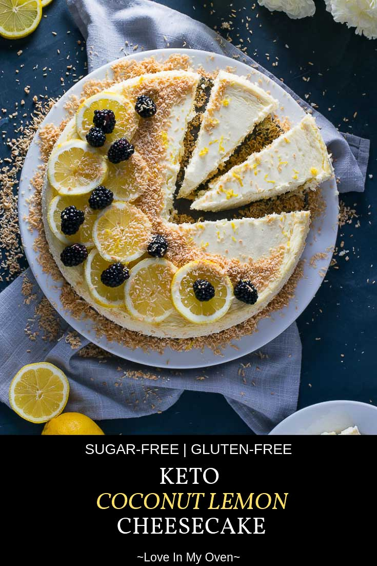 Whether you\'re on the keto diet or not, you will LOVE this rich, creamy, lemony coconut cheesecake made with a grain-free almond flour crust and garnished with toasted coconut! #ketodesserts #cheesecake #lemon #lemondesserts #lemoncheesecake #spring #ketofriendly #ketogenic