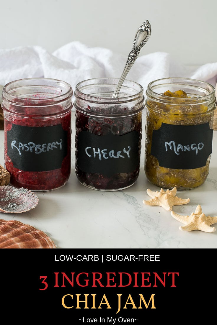 Looking for a healthy jam recipe? Make your own easy 3 ingredient chia jam without sugar or sweetener! Use any fruit, fresh or frozen, and have a sugar free jam that\'s ready in 10 minutes. // raspberry chia jam // easy jam recipe // sugar free jam