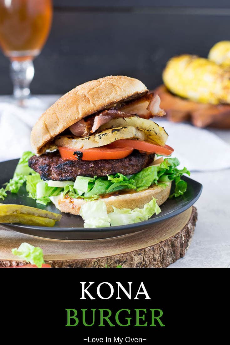 This kona burger is your new favourite summer recipe! It\'s a teriyaki burger with grilled pineapple, mozzarella and bacon! Dig in! // kona burger // teriyaki burger // kona burger recipe
