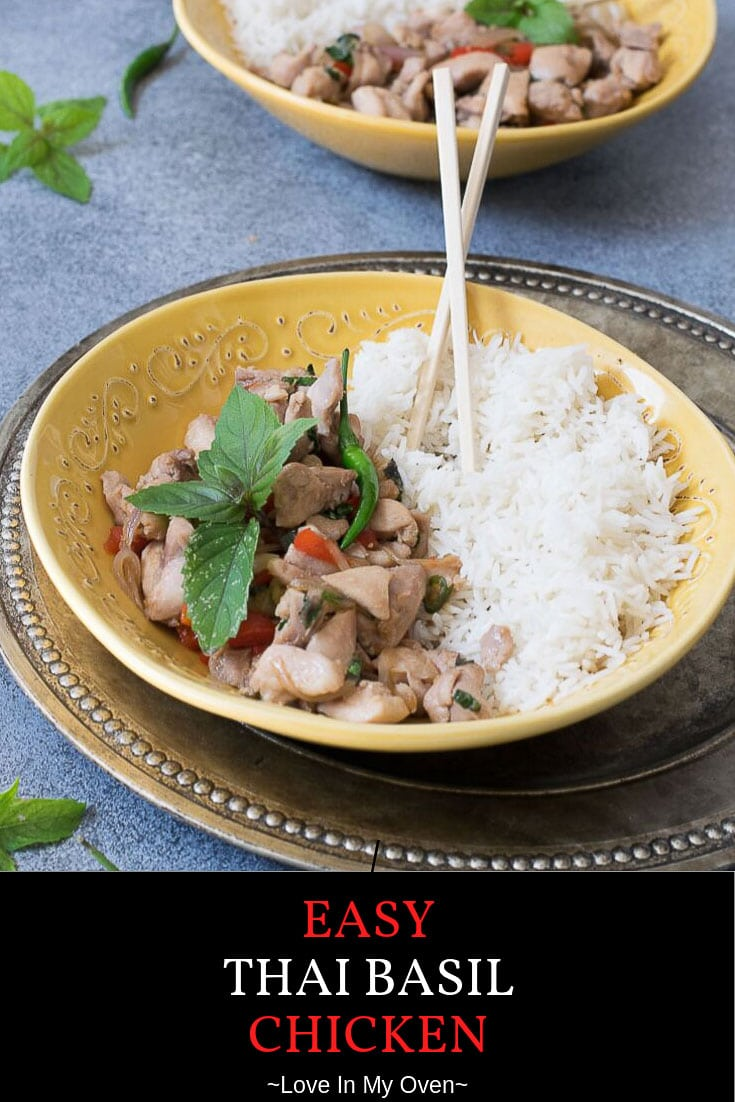 If you\'re a Thai food lover, you\'ll definitely love this easy Thai basil chicken! Made with simple fresh ingredients, after trying this dish you\'ll agree it's the best Thai basil chicken recipe! // thai chicken basil // thai food recipes