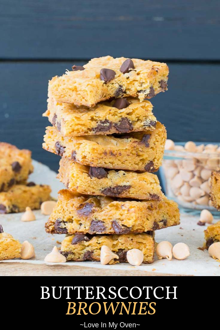 These butterscotch brownies with chocolate chips are a family favourite for a reason. They\'re an easy blondie recipe with butterscotch flavor baked right in! // easy butterscotch brownies // easy blondie recipe