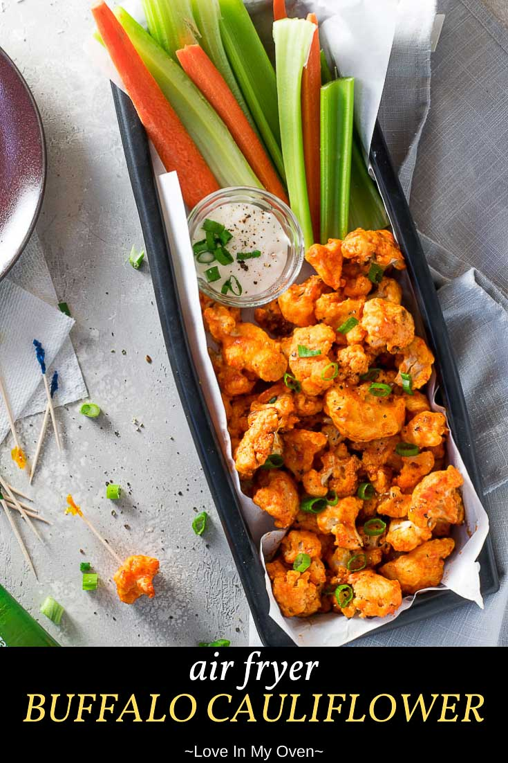 Looking for air fryer appetizers? This air fryer buffalo cauliflower is the most delicious appetizer or side! Lightly battered cauliflower air fried until crisp and coated in spicy buffalo sauce! // buffalo cauliflower air fryer // easy buffalo cauliflower