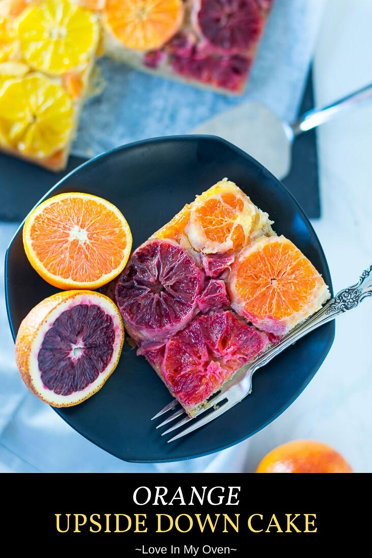 Impress your guests with this easy citrus cake! It\'s an orange upside cake using 3 different oranges for 3 different colors! Celebrate citrus season with a citrus upside down cake. // triple citrus cake recipe // moist citrus cake recipe