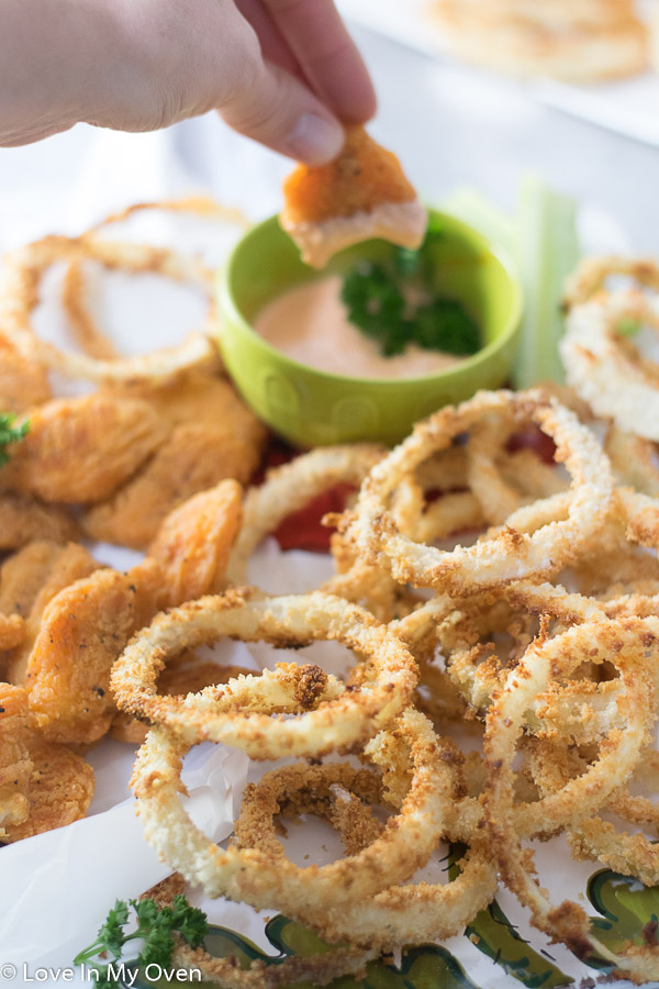 oven baked onion rings with fish wings