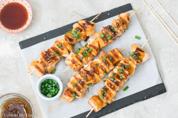 grilled teriyaki salmon bites