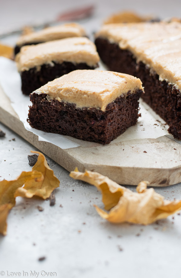 healthier chocolate and peanut butter sheet cake